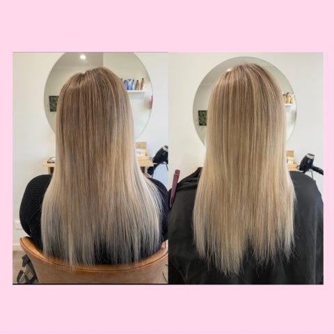 before and after images side by side of inner hair nutrition results