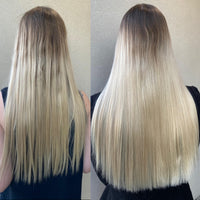 before and after images of hair growth side by side from a customer product trial