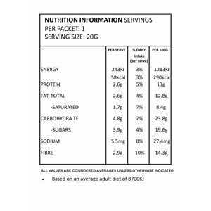 Salted Caramel Inner Hair Nutrition Nutritional Information Panel