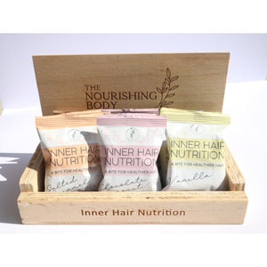 Timber salon display unit for inner hair nutrition bites