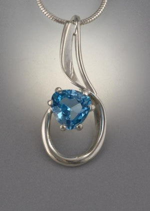 Sterling Silver Pendant with 8x8x8mm stone (shown here in Swiss Blue Topaz see options to choose stone)