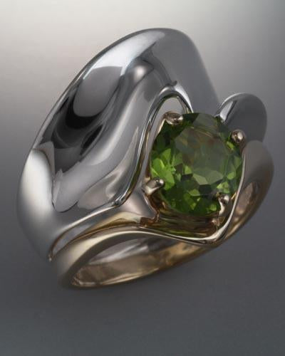 14k Gold and Sterling Silver Ring with Peridot