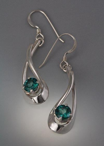 Sterling Silver Earring with Green Topaz