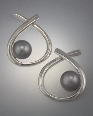 Sterling Silver Earring with 6mm Pearl (shown here with grey pearl, see options to choose pearl color)
