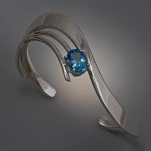 Sterling Silver Bracelet with Swiss Blue Topaz