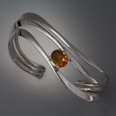 Sterling Silver Bracelet with Citrine