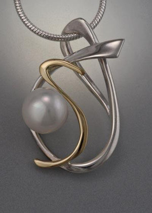 14k Gold and Sterling Silver Pendant with 8mm Pearl (shown here with white pearl, see options to choose pearl color)