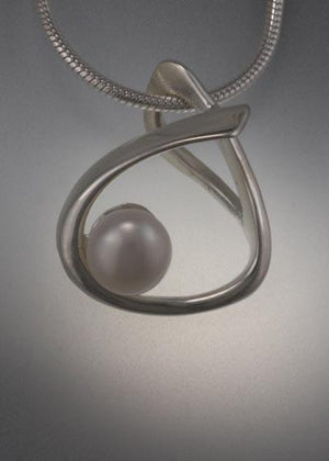 Sterling Silver Pendant with 6mm Pearl (shown here with white pearl, see options to choose pearl color)