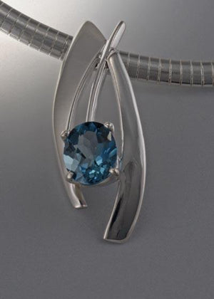 Sterling Silver Slide with London Blue Topaz