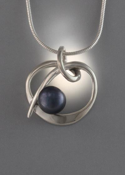 Sterling Silver Pendant with 8mm Pearl (shown here with black pearl, see options to choose pearl color)