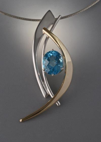14k Gold and Sterling Silver Slide with Swiss Blue Topaz