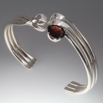 Sterling Silver Bracelet with 10x8mm stone (shown here in Garnet see options to choose stone)