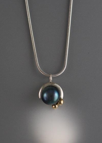 14K Gold and Sterling Silver Pendant with 8mm Pearl  (shown here with black pearl see options to choose pearl color)