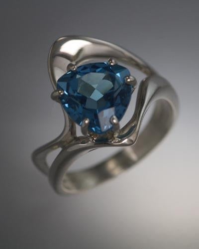 Sterling Silver Ring with Trillion Swiss Blue Topaz