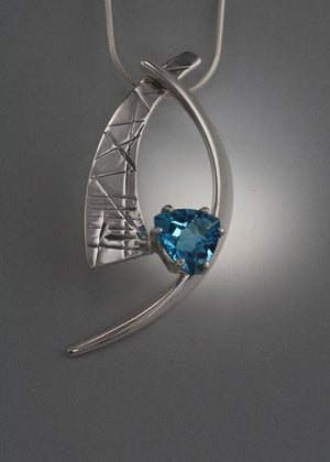 Sterling Silver Pendant with Swiss Blue Topaz