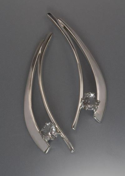 Sterling Silver Earring with White Topaz