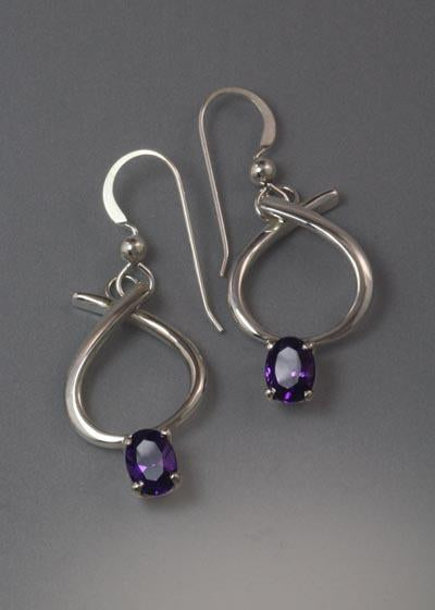 Sterling Silver Earrings with 6x4 stones (Shown here in Amethyst, see options to choose stone)
