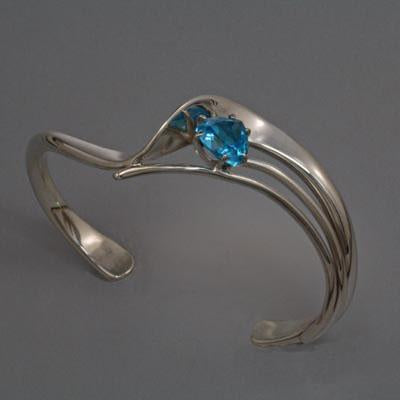 Sterling Silver Bracelet with 8x8x8mm stone (shown here in Swiss Blue Topaz see options to choose stone)
