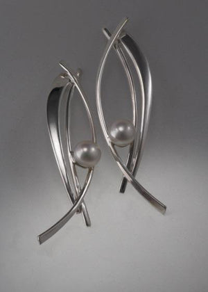 Sterling silver earrings with 8mm Pearls (shown here with grey pearl, see options to choose pearl color)