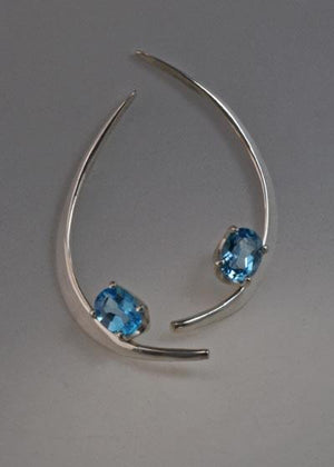 Sterling silver earrings with Swiss Blue Topaz