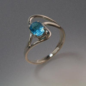 Sterling Silver Ring with Swiss Blue Topaz