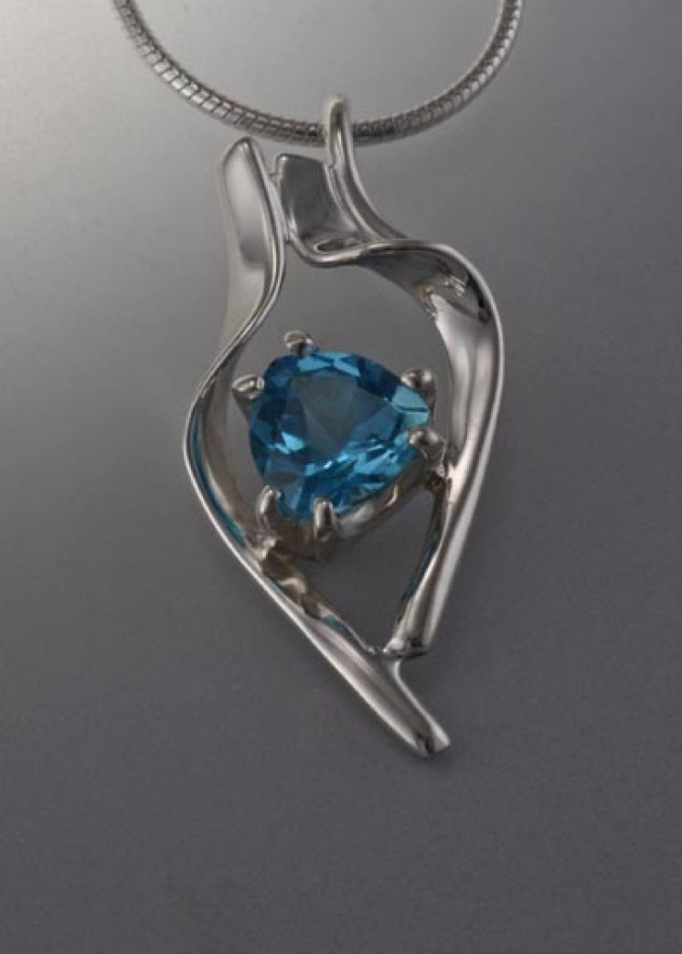 Sterling Silver pendant with 8x8x8mm stone (shown here in Swiss Blue Topaz, see options to choose stone)