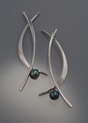 Sterling silver earrings with 6mm Pearls (shown here with black pearl, see options to choose pearl color)