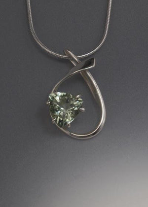 Sterling Silver Pendant with Green Amethyst