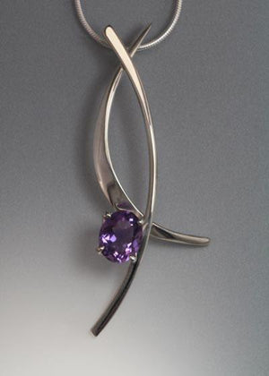Sterling Silver Pendant with Lilac Amethyst