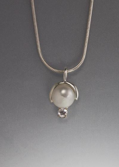 Sterling Silver Pendant with 8mm Pearl and White Sapphire (shown here with White Pearl, see options to choose pearl color)