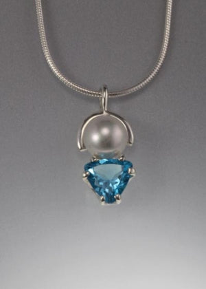 Sterling Pendant with 8mm pearl and Swiss Blue Topaz (shown here with White Pearl see options to choose pearl color)