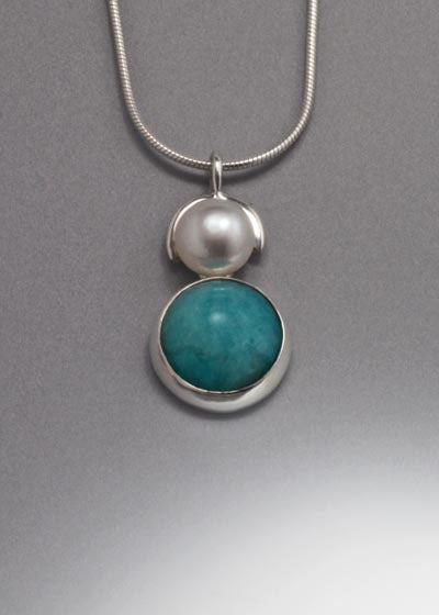 Sterling Silver Pendant with Amazonite and 8mm Pearl(shown with White Pearl see options to choose pearl color)