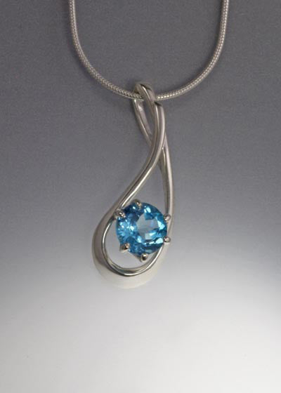 Sterling Pendant with 8mm round stone (shown in Swiss Blue Topaz, see options to choose stone)