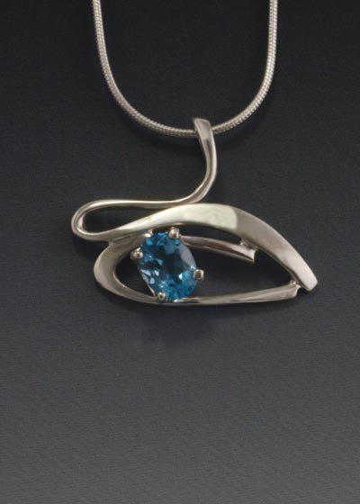 Sterling Silver Pendant with 8x6mm stone (shown in Swiss Blue Topaz, see options to choose stone.)
