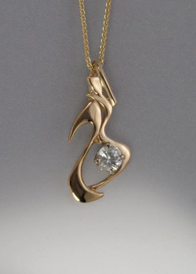 14K Gold Pendant with White Sapphire