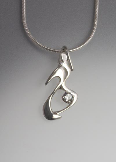 Sterling Silver Pendant with White Sapphire