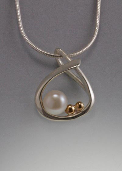 14K Gold and Sterling Silver pendant with 6mm Pearl (shown in White, see options to choose pearl color.)
