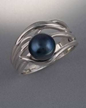 Sterling Silver ring with 8mm Pearl (shown here with Black Pearl see options to choose pearl color)