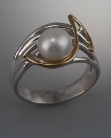 14k Gold and Sterling Silver Ring with 8mm Pearl (shown here with white pearl, see options to choose pearl color)
