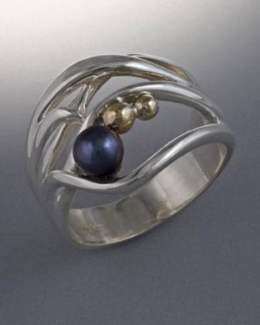 14k Gold and Sterling Silver Ring with 4mm Pearl (shown here with black pearl, see options to choose pearl color)