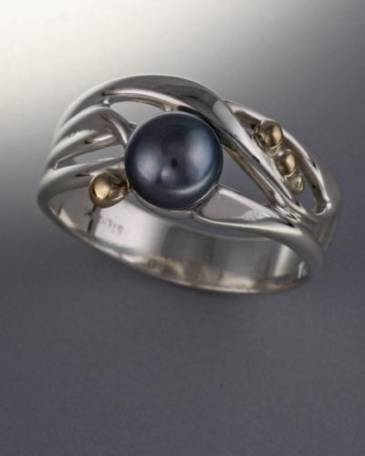 14K Gold and Sterling Ring with 6mm Pearl (shown here with Black Pearl see options to choose pearl color)