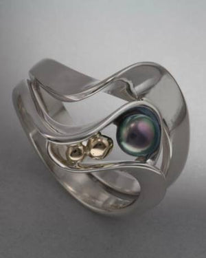 14K Gold and Sterling Silver ring with 4mm pearl (shown here with Black Pearl see options to choose pearl color)