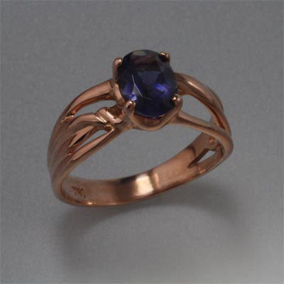 14K Rose Gold Ring with 8x6 stone (shown here with Green Topaz, also available in Iolite)