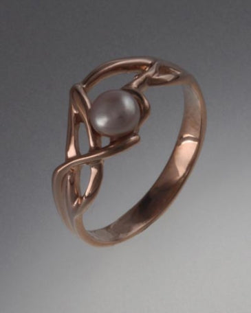 14K Rose Gold ring with 4mm Pearl (shown here with Pink Pearl, see options to choose pearl color)