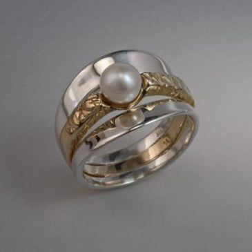 14K Gold and Sterling ring with 6mm pearl (shown here with White Pearl see options to choose pearl color)