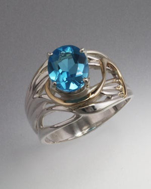 14K Gold and Sterling Silver ring with 10x8mm stone (shown in Swiss Blue Topaz, see options to choose stone)