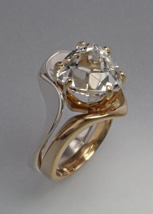 14K Gold and Sterling ring with White Topaz