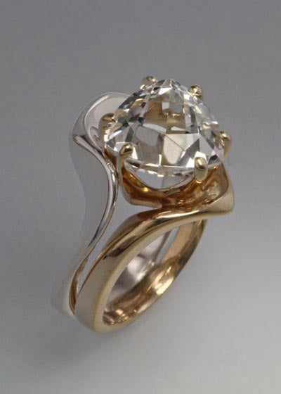 14K Gold and Sterling ring with 8x8x8mm stone (shown in White Topaz see options to choose stone)