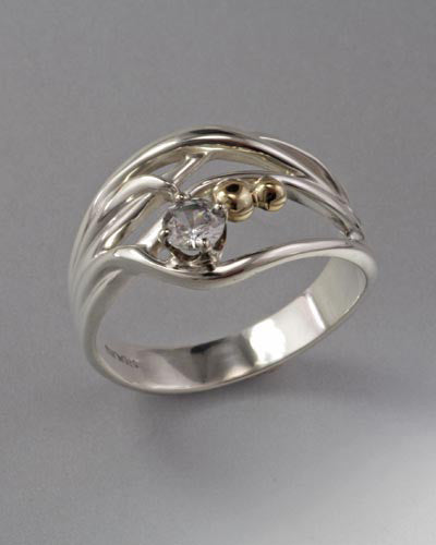 14K Gold and Sterling Ring with White Sapphire