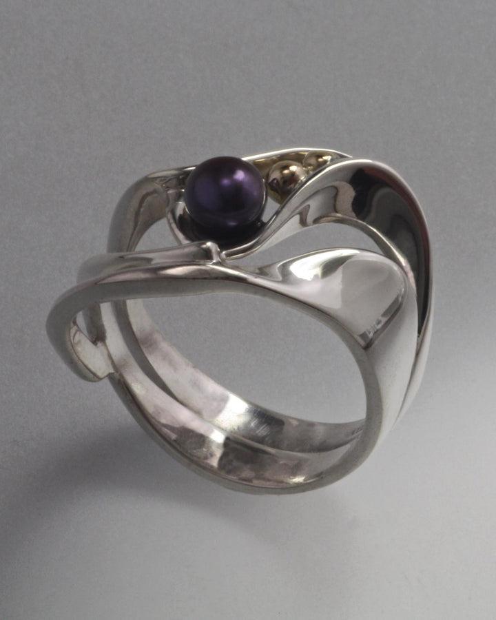 14K Gold and Stirling Silver Ring with 4mm Pearl (shown here with Black Pearl see options to choose pearl color)